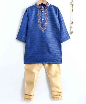 The Little Fashionistas Embroidered Full Sleeves Kurta With Pajama - Blue