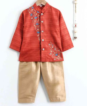 The Little Fashionistas Full Sleeves Flower Embroidered Kurta With Pajama - Orange