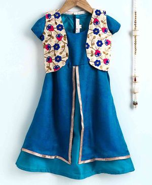 The Little Fashionistas Ankle Length Double Layered Flared Short Sleeves Dress With Embroidered Jacket - Blue