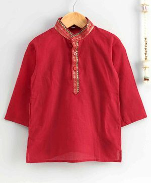 The Little Fashionistas Mangalgiri Full Sleeves Kurta - Red