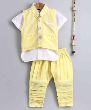 The Little Fashionistas Short Sleeves Kurta With Contrast Jacket & Pajama - Yellow
