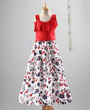The Little Fashionistas Sleeveless Tank Top With Flower Print Skirt - Red