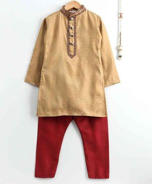 The Little Fashionistas Brocade Full Sleeves Kurta With Pajama - Brown