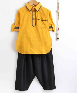 The Little Fashionistas Full Sleeves Pathani Style Self Stripped Kurta & Salwar - Yellow & Black