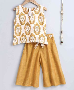 The Little Fashionistas Sleeveless Buddha Print Top With Flared Pants - Yellow