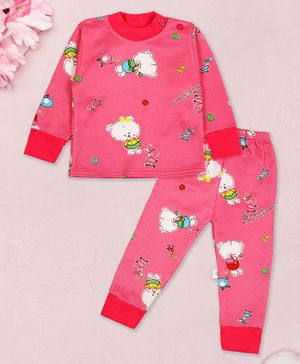 Coco Candy Teddy Print Full Sleeves Night Suit - Pink