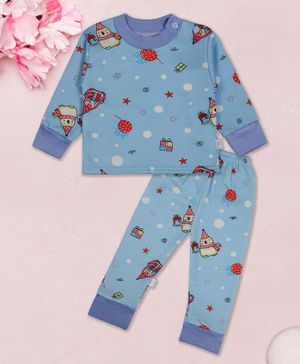 Coco Candy Star & Balloon Print Full Sleeves Night Suit - Blue