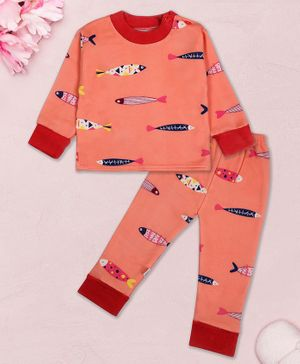 Coco Candy Fish Print Full Sleeves Night Suit - Peach