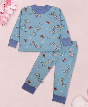 Coco Candy Giraffe Print Full Sleeves Night Suit - Blue