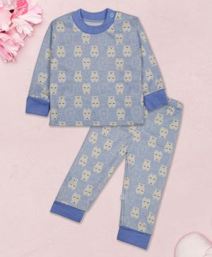 Coco Candy Bear Print Full Sleeves Night Suit - Blue