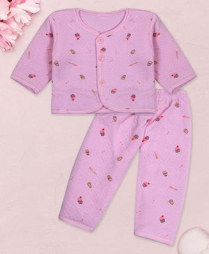 Coco Candy Full Sleeves Cup Cake Print Tee With Pajama - Purple