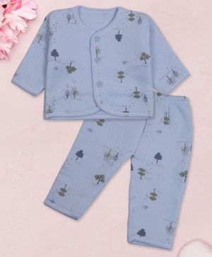 Coco Candy Full Sleeves Trees Print Tee With Pajama - Blue