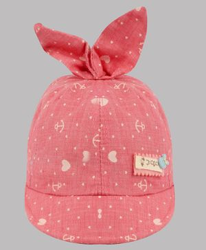 Coco Candy Heart Printed Cap - Pink