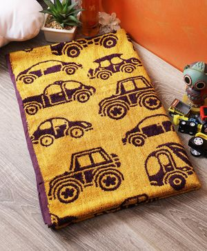 Softweave Bamboo Terry Towel Car Embroidered Design - Yellow