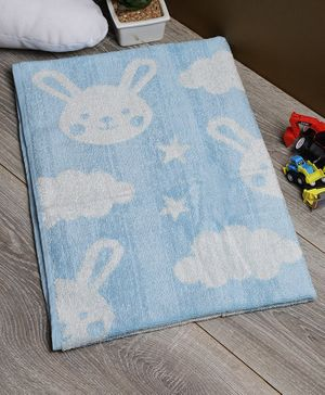 Softweave Bamboo Terry Towel Bunny & Star Embroidered Design - Blue