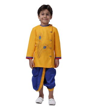Ahhaaaa Full Sleeves Peacock Feather Design Kurta With Dhoti - Yellow Blue
