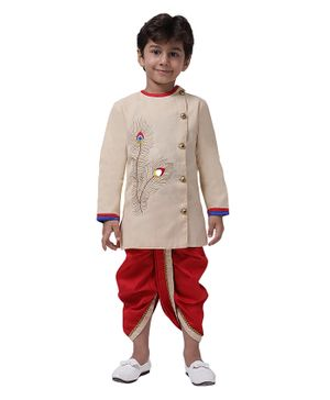 Ahhaaaa Full Sleeves Peacock Feather Design Kurta With Dhoti - Off White Red