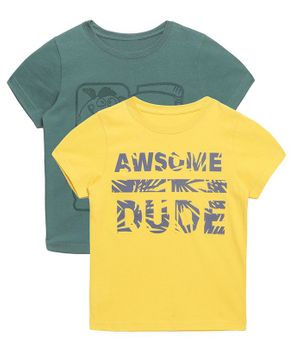Plum Tree Half Sleeve Awesome Dude Print Pack Of 2 Tee - Green & Yellow