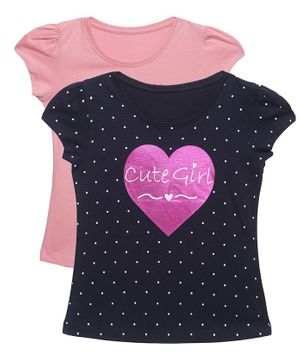 Plum Tree Short Sleeves Cute Girl Print Pack Of 2 Tee - Navy & Rose Pink