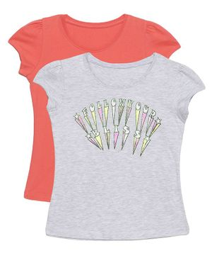 Plum Tree Short Sleeves Follow Your Bliss Print Pack Of 2 Tee - Salmon Pink & Grey