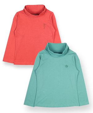 Plum Tree Full Sleeves Solid Pack Of Two Tee - Peach Green