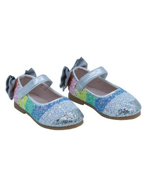 FEETWELL SHOES Striped Glitter Finish Bellies - Silver