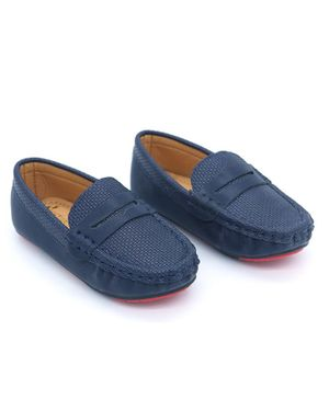 FEETWELL SHOES Textured Loafers - Blue
