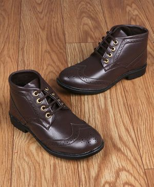 FEETWELL SHOES Laced Up Boots - Brown