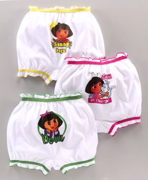 Red Rose Bloomers Dora Print Pack of 3 -  Yellow Pink Green