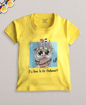 Ardan Lucy Half Sleeves Its Time To Be Owlsome Tee - Yellow