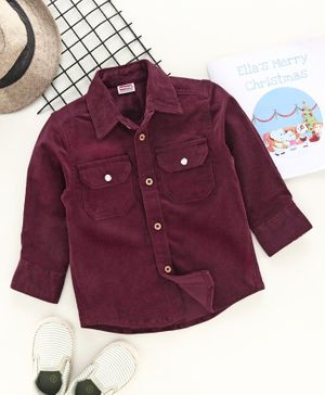 Babyhug Full Sleeves Solid Colour Corduroy Shirt - Maroon