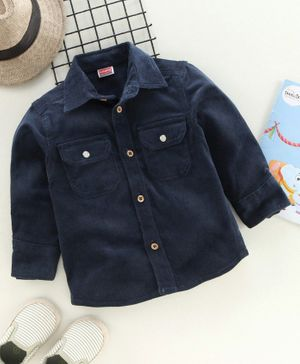 Babyhug Full Sleeves Corduroy Shirt Solid Colour - Navy Blue