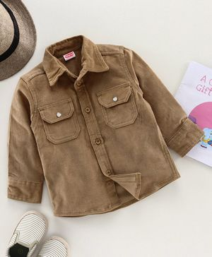 Babyhug Full Sleeves Corduroy Solid Two Pocket Shirt - Beige