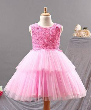 Babyhug Sleeveless Layered Party Frock with Embroidered Bodice - Pink