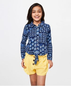 Global Desi Girl Full Sleeves Geometric Print Shirt Style Top - Blue