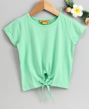 Global Desi Girl Short Sleeves Front Knot Detailed Top - Green