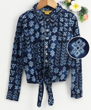 Global Desi Girl Full Sleeves Flower Design Front Knot Top - Navy Blue