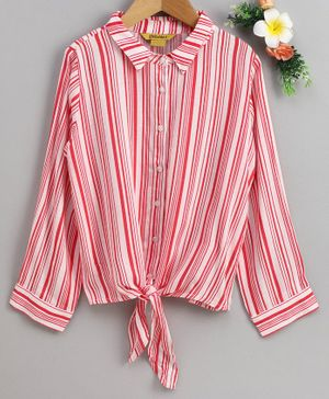 Global Desi Girl Full Sleeves Striped Front Knot Top - Pink