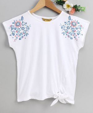 Global Desi Girl Short Sleeves Flower Design Top - White