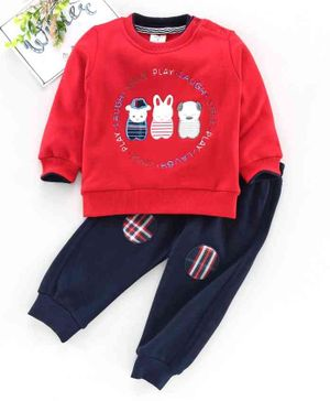 Brats & Dolls Full Sleeves Tee & Lounge Pant Animal Embroidery - Red Navy Blue
