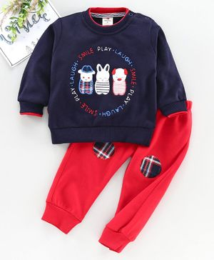 Brats & Dolls Full Sleeves Tee & Pant Animal Embroidered - Blue Red