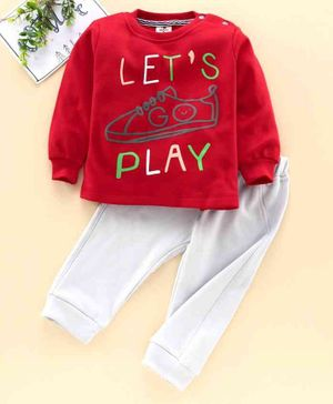 Brats & Dolls Full Sleeves Tee & Pant Shoe Print  - Red Grey
