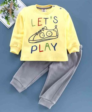 Brats & Dolls Full Sleeves Tee & Pant Shoe Print  - Yellow Grey