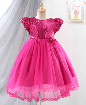 Anna Maria Cap Sleeves Sequined Yoke Lace Trim High Low Style Dress - Pink
