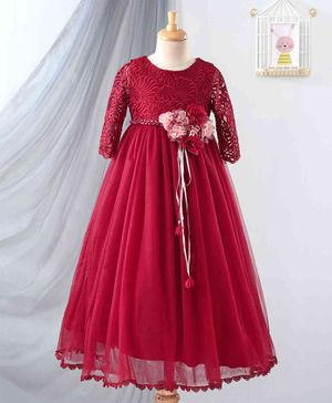 Anna Maria Full Sleeves Floral Embellishment Gown - Maroon