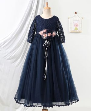Anna Maria Full Sleeves Floral Embellishment Gown - Navy Blue