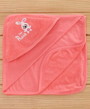 Simply Hooded Towel Animal Patch - Peach