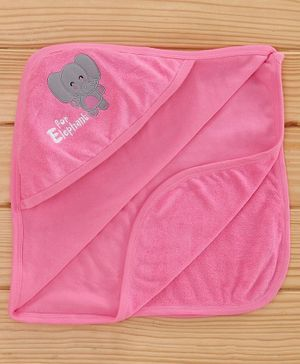 Simply Hooded Towel Animal Patch - Pink