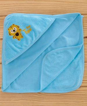 Simply Hooded Towel Animal Patch - Sky Blue