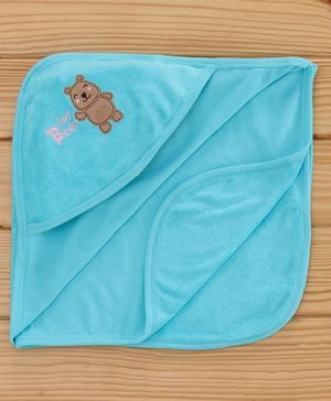 Simply Hooded Towel Animal Patch - Blue